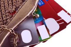 Wallet with credit cards. Antiquarian purse with credit cards Visa and Mastercard Royalty Free Stock Photo