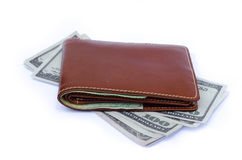 Wallet with credit cards and cash Royalty Free Stock Photos