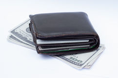 Wallet with credit cards and cash Stock Images