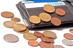 Wallet with credit cards and coins Stock Images