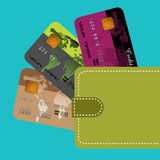 Wallet with credit cards Royalty Free Stock Photos