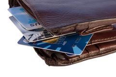 Wallet with credit cards inside Royalty Free Stock Photography