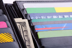 Wallet with credit cards and money Royalty Free Stock Photo