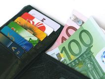 Wallet with credit cards and Money Royalty Free Stock Photos