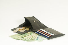 Wallet with credit cards and money. Banknotes, coins and credit cards with the wallet Royalty Free Stock Photography