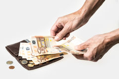 Wallet with credit cards and money. Fifty euros and cents stock photo