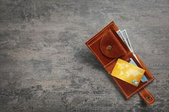 Wallet with credit cards on table Stock Photo