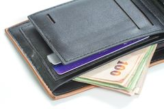 Wallet with credit cards and Thai banknotes Royalty Free Stock Image