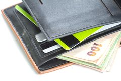 Wallet with credit cards and Thai banknotes Royalty Free Stock Photography