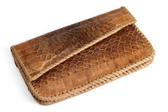 Wallet from crocodile leather. Isolated over white Royalty Free Stock Photo
