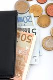Wallet and currencies Stock Photography