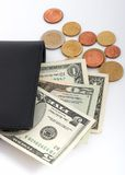 Wallet and currencies Royalty Free Stock Photos