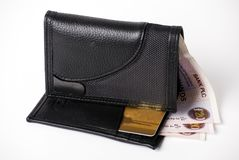 Wallet and currency Stock Images
