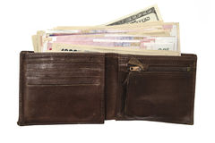 Wallet and currency Royalty Free Stock Images