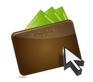 Wallet and cursor buying concept Royalty Free Stock Photography