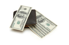 Wallet of dollar banknotes. Isolated on white royalty free stock image