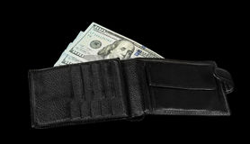 Wallet with dollar bils Stock Images