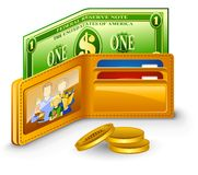 Wallet with dollar and coins Stock Photos