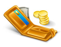 Wallet with dollar and coins. Vector illustration of wallet on white background Stock Images