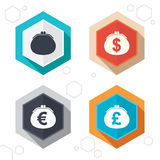 Wallet with Dollar, Euro icons. Cash bag signs Royalty Free Stock Photos