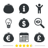 Wallet with Dollar, Euro icons. Cash bag signs. Royalty Free Stock Images