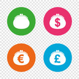 Wallet with Dollar, Euro icons. Cash bag signs. Stock Images