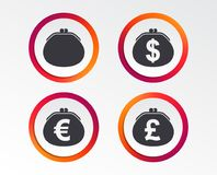 Wallet with Dollar, Euro icons. Cash bag signs. Stock Image