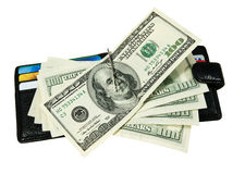 Wallet with dollars. And credit cards Royalty Free Stock Images