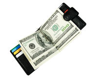 Wallet with dollars. And credit cards Stock Images