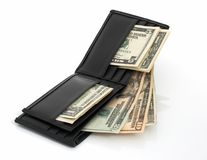 Wallet and dollars Royalty Free Stock Photography