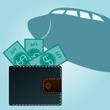 Wallet with dollars on a background of an airplane. Stock Photos