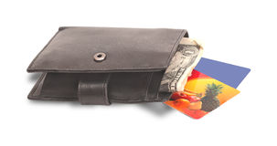 Wallet with dollars and a bank card Royalty Free Stock Image