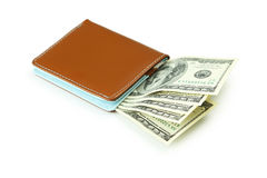 Wallet with dollars. Banknotes isolated on white Stock Photography