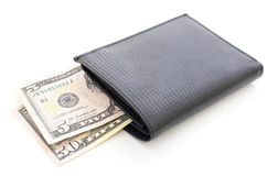 Wallet with dollars. Black wallet with dollars isolated on white Royalty Free Stock Photo