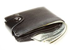 Wallet with dollars. Black leather wallet with dollars white isolated Stock Image