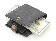 Wallet with dollars. Black wallet with dollars  on white Stock Photos