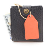 Wallet with dollars. Black wallet with dollars on white Stock Image