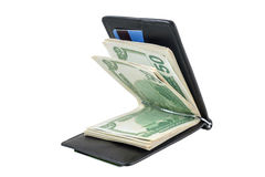 Wallet with dollars and card Stock Photo