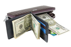 Wallet with dollars and card Royalty Free Stock Photo