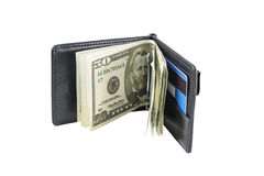 Wallet with dollars and card Royalty Free Stock Photography