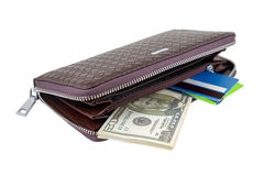 Wallet with dollars and card Stock Photos