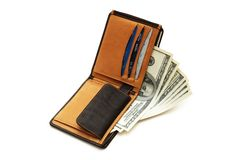 Wallet with dollars and cards. Wallet with dollars and credit cards isolated Royalty Free Stock Image