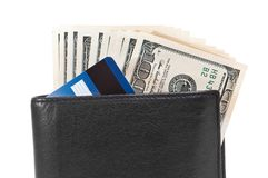 Wallet with dollars and credit cards Royalty Free Stock Photography