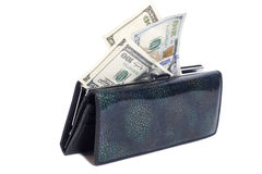 Wallet with dollars isolated on white Stock Photos
