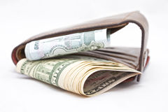 Wallet with dollars and rubles Stock Image