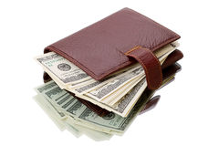 Wallet with dollars on white Royalty Free Stock Photography