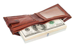 Wallet with dollars. On white background Royalty Free Stock Image