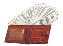 Wallet with dollars. On white background Royalty Free Stock Photo