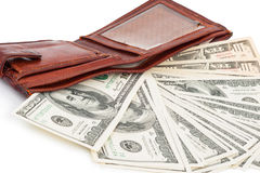 Wallet with dollars. On white background Stock Image