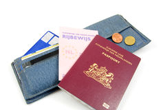 Wallet and Dutch documents. Isolated on white background royalty free stock photo